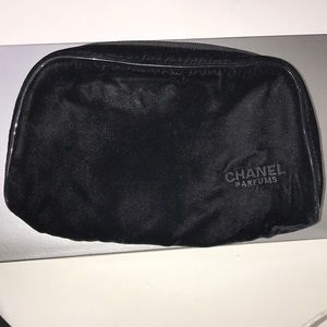 Chanel velvet black cosmetic bag soft zip around